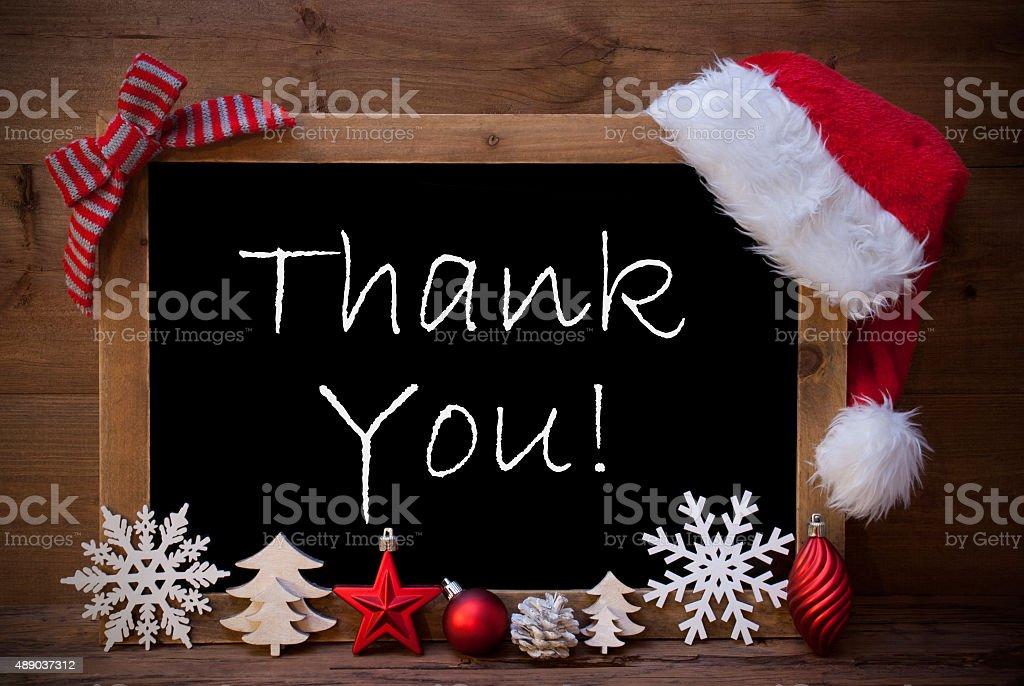 Brown Blackboard Santa Hat Christmas Decoration Happy Holidays stock photo