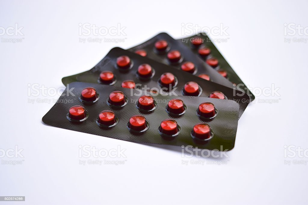 Brown Blister packs of pills stock photo