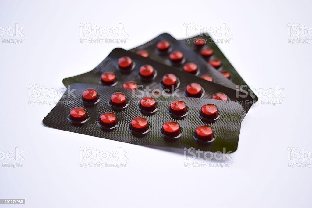 Brown Blister packs of pills stock photo