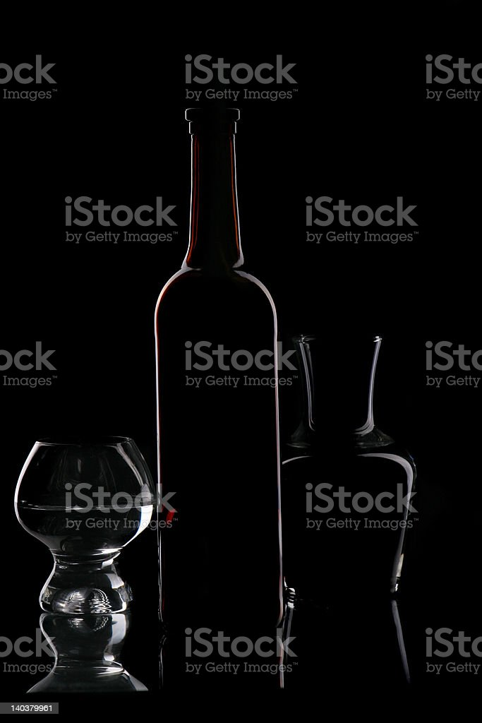 brown bottle and glasses royalty-free stock photo