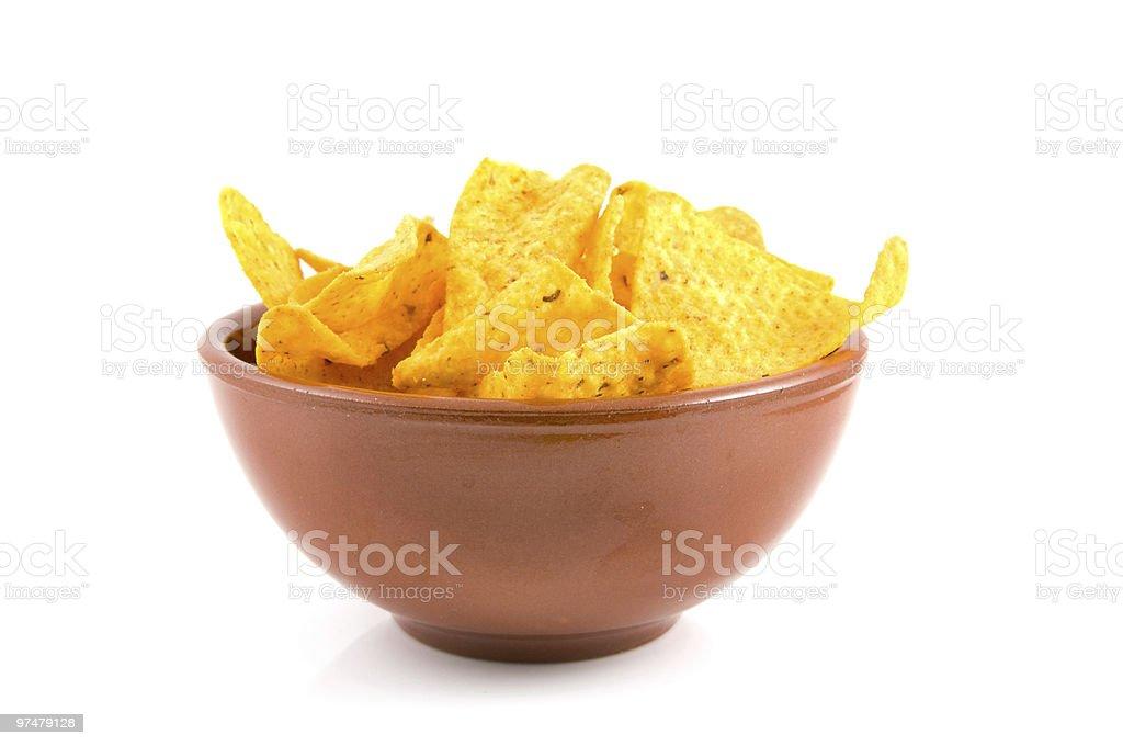 Brown bowl, chips photo libre de droits