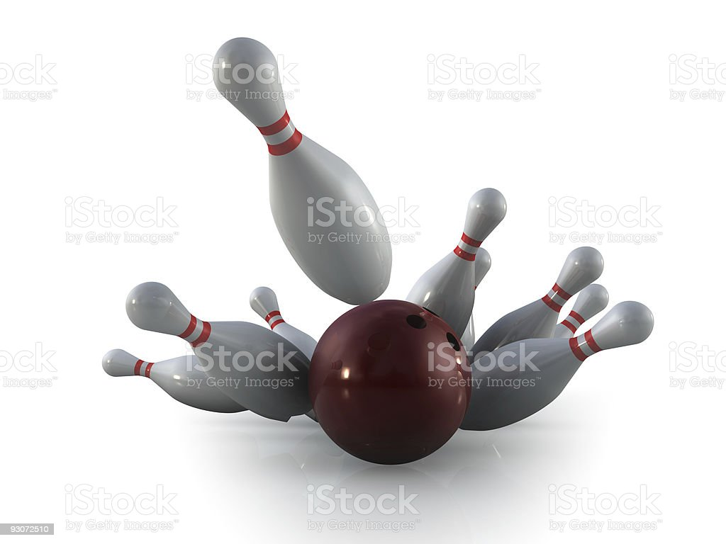 Brown bowling knocking down ten pins for a strike royalty-free stock photo