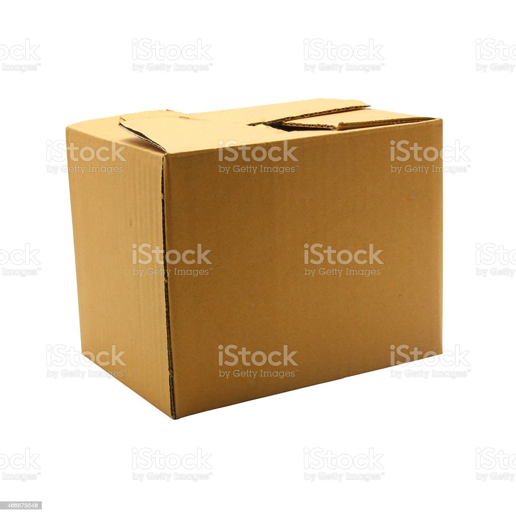 Brown box isolated on white background stock photo