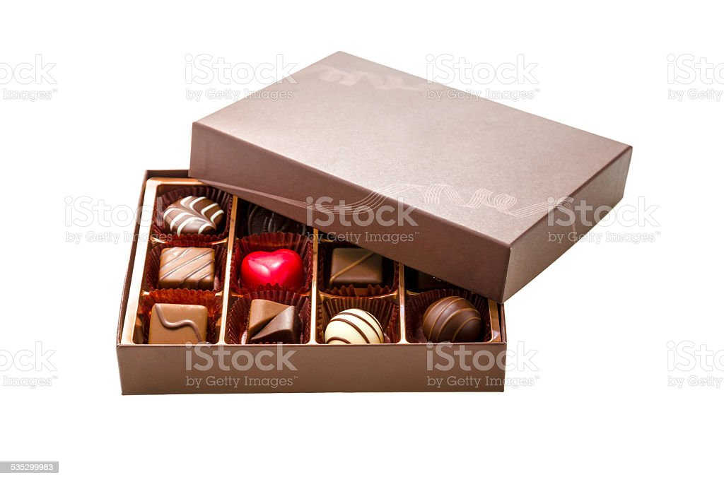 Brown Box of Chocolate with Assorted Chocolates stock photo