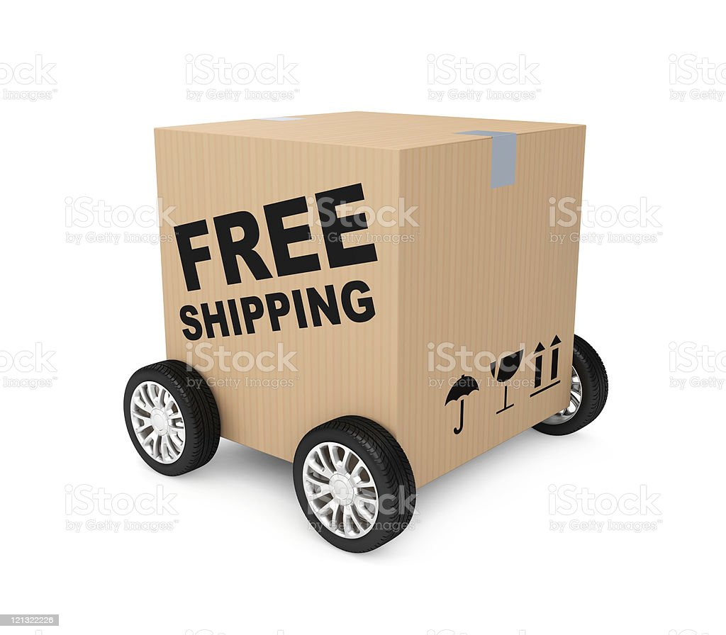 A brown box with free shipping on it on four wheels on white stock photo