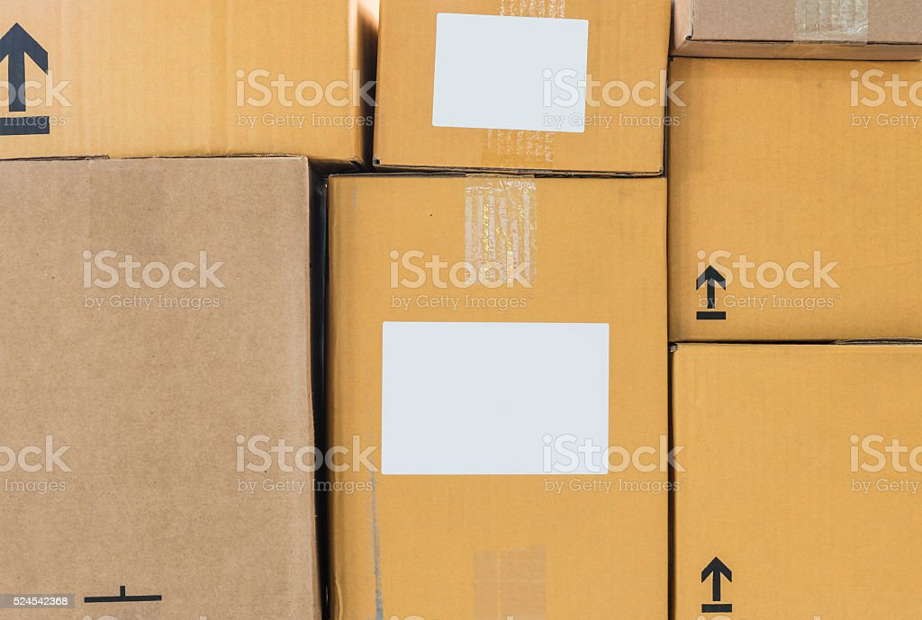 Brown boxes set background stock photo