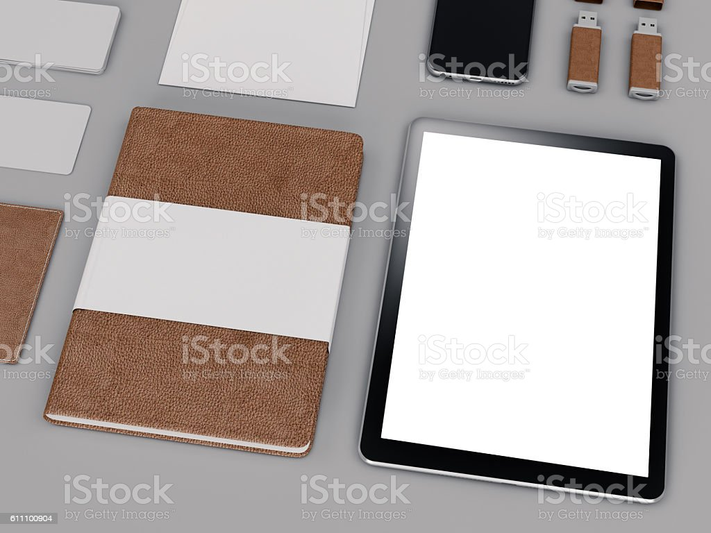 Brown branding mockup. Template set on black background.. stock photo