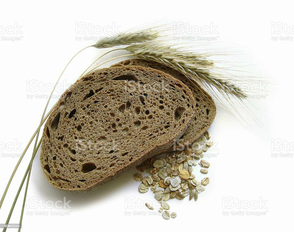Brown bread, rye ears (spikes) and corn royalty-free stock photo