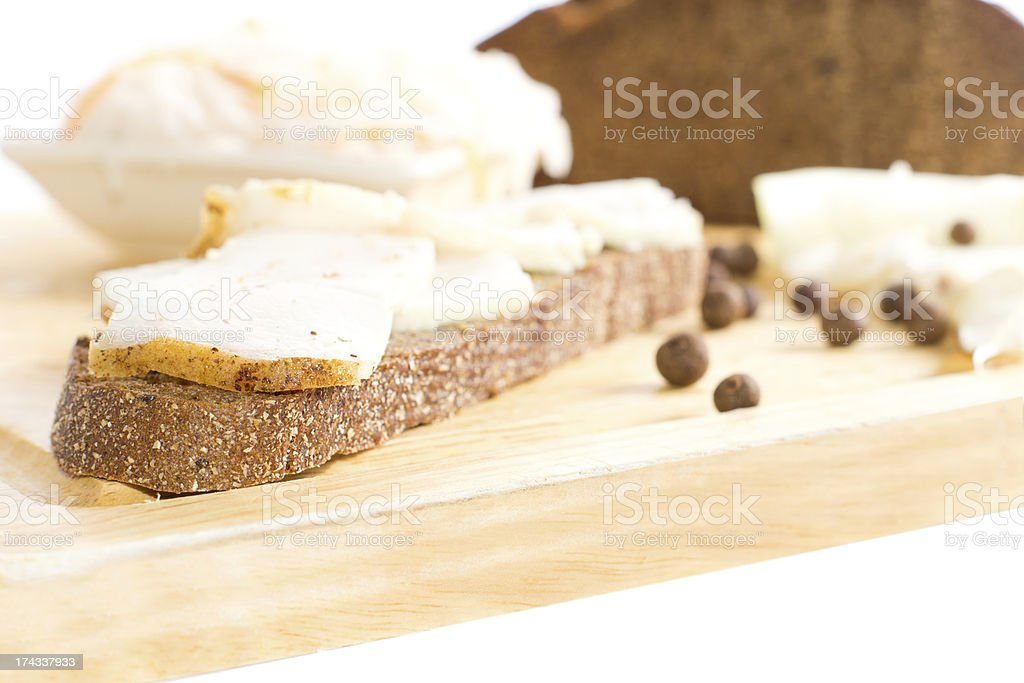 Brown bread sandwich preparations royalty-free stock photo