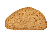 Brown bread slice isolated on white