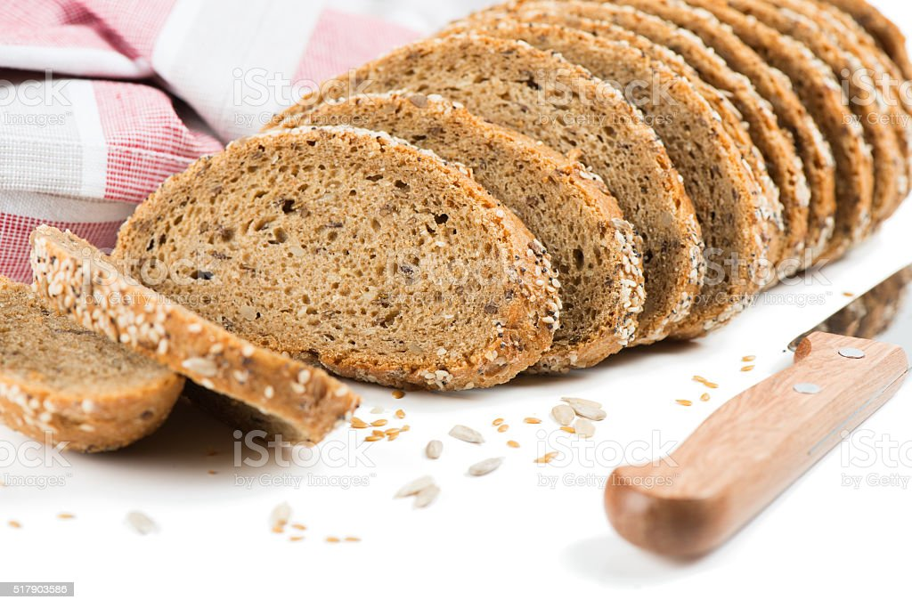 Brown bread with cereals. stock photo