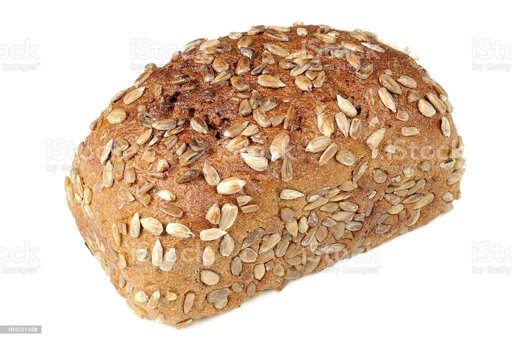 Brown Bread with Sunflower Seeds Isolated on White Background royalty-free stock photo