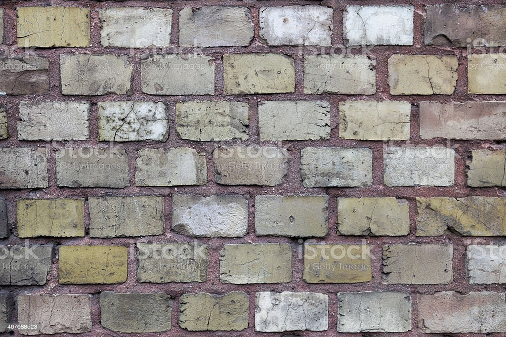 brown brick wall surface #1, plan view, overcast sky stock photo