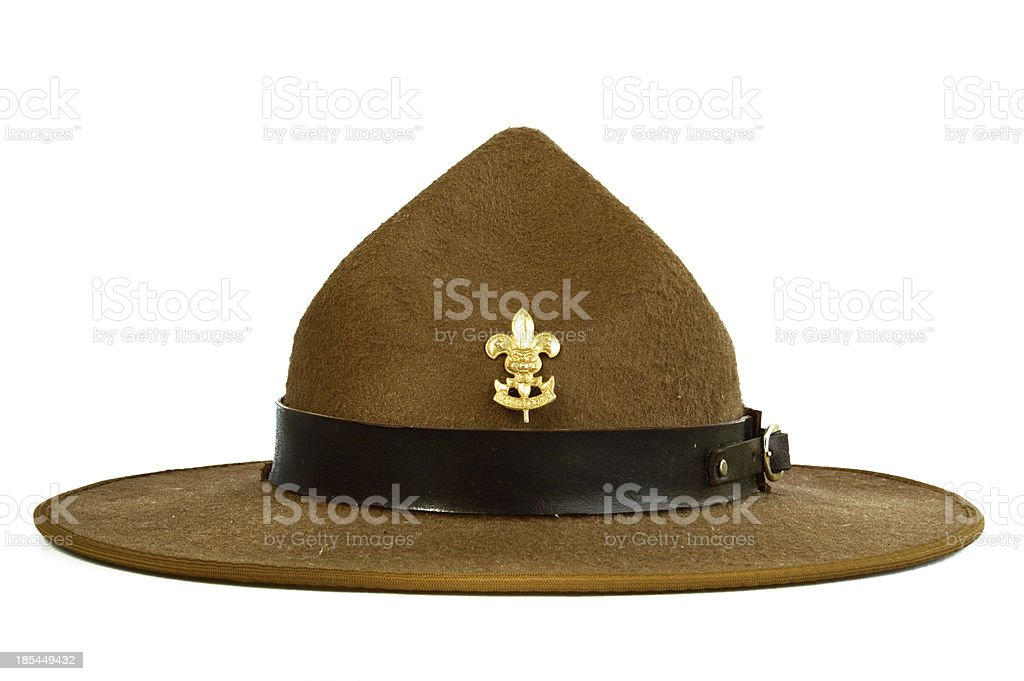 brown brim hat (of scout) isolated on white background stock photo