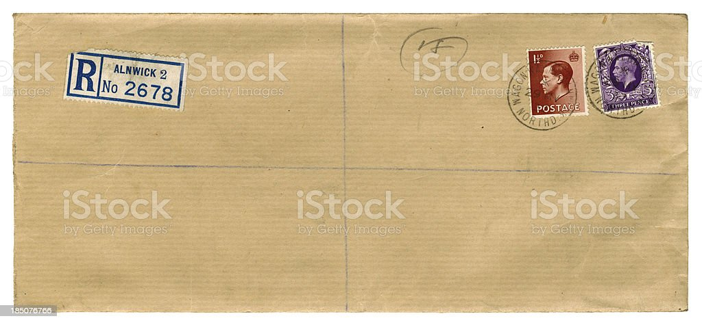 Brown British foolscap envelope, 1937 - two kings royalty-free stock photo