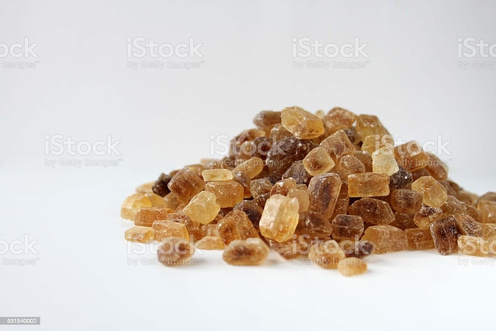 Brown candy sugar, large crystals stock photo