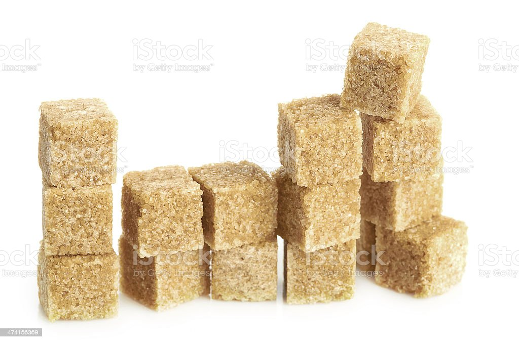 Brown cane sugar cubes royalty-free stock photo