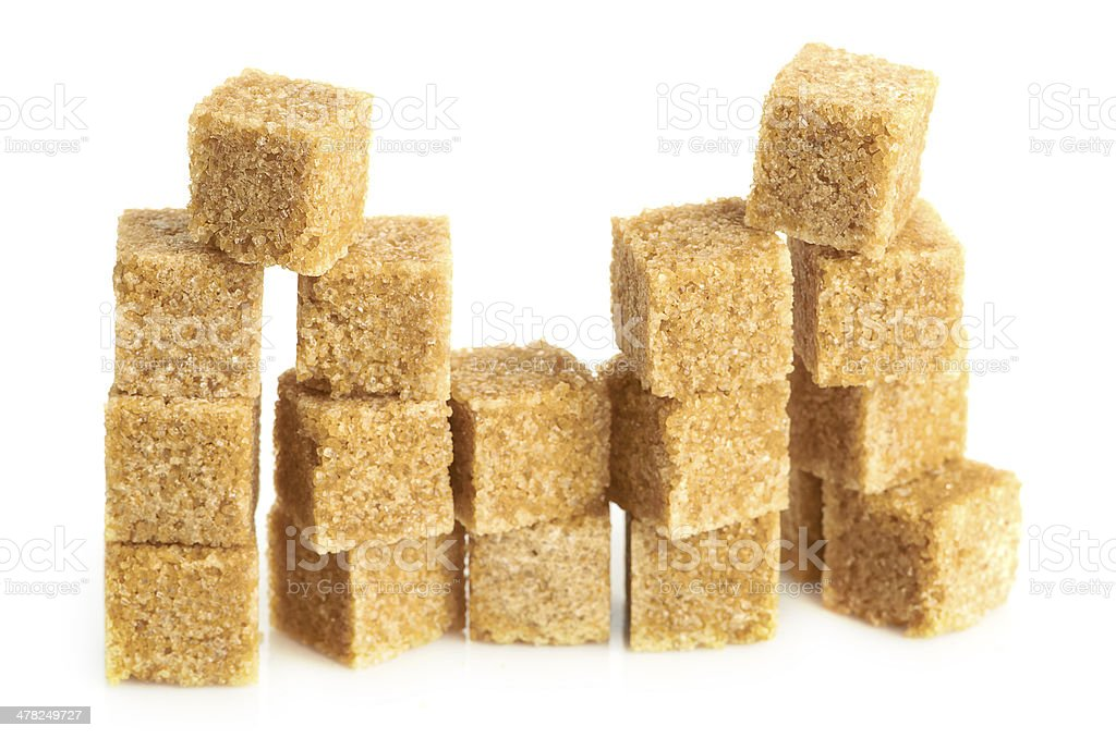 Brown cane sugar cubes royalty-free stock photo