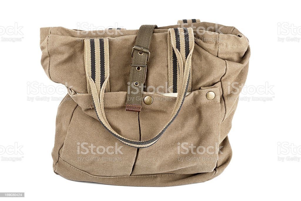 Brown canvas purse royalty-free stock photo