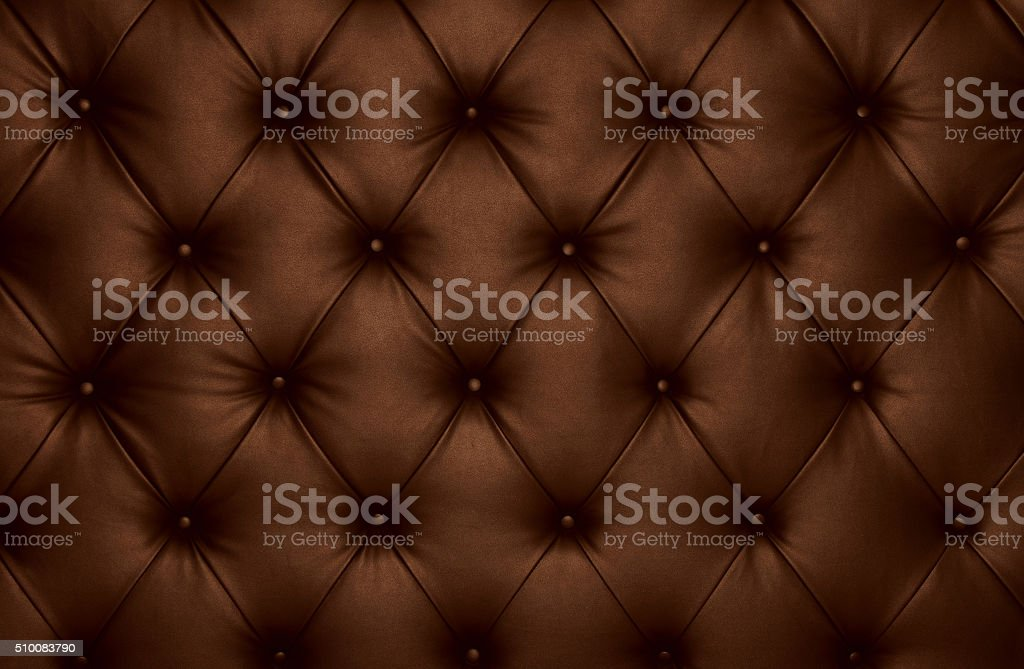 Brown capitone checkered coach leather decoration royalty-free stock photo