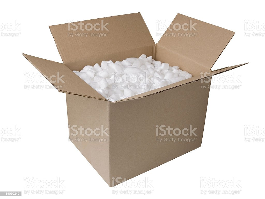 Brown cardboard box open with packing inside royalty-free stock photo