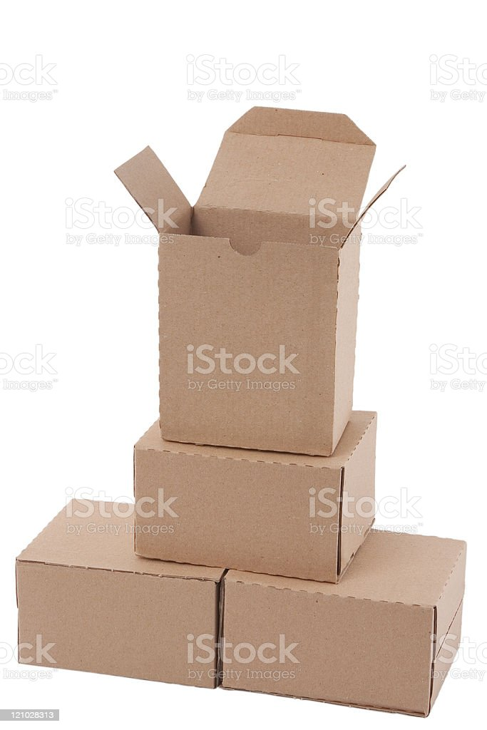 Brown cardboard boxes arranged in stack royalty-free stock photo
