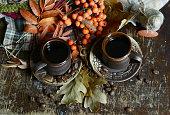 Brown ceramic coffee cups.