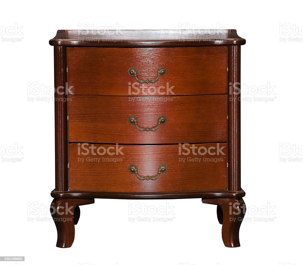 Brown chest of drawers isolated stock photo