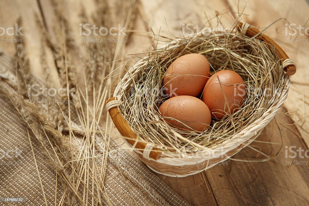 Brown chicken eggs stock photo