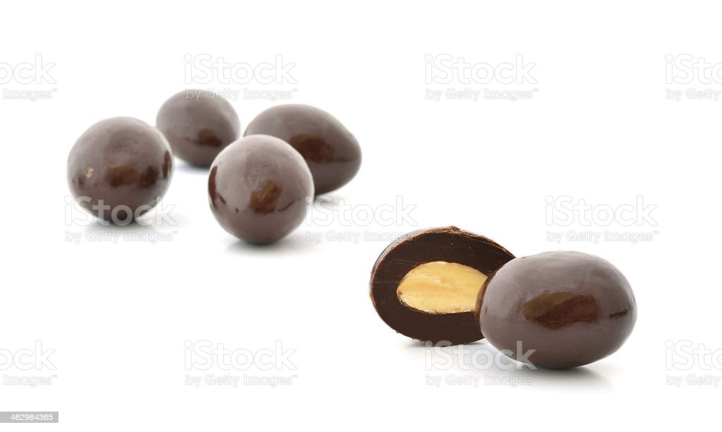 brown chocolate balls and half with crisp filling stock photo