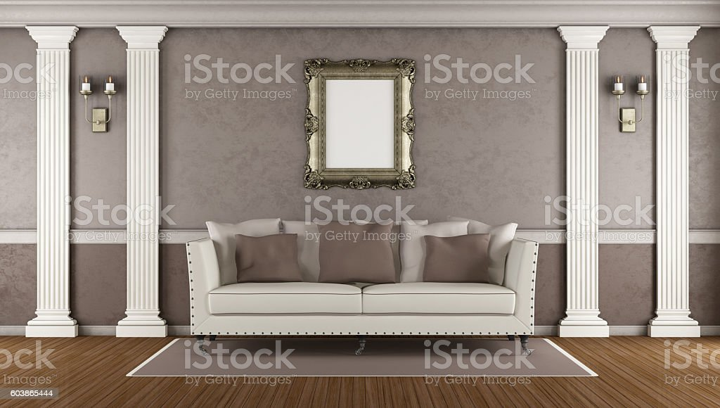 Brown classic living room stock photo