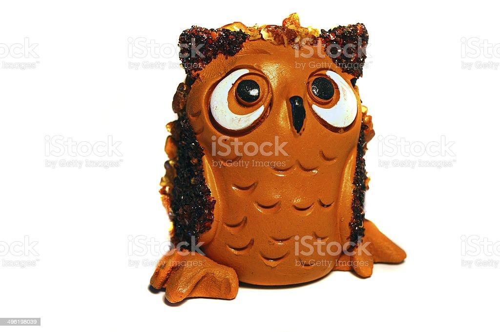 Brown clay figurine owl stock photo