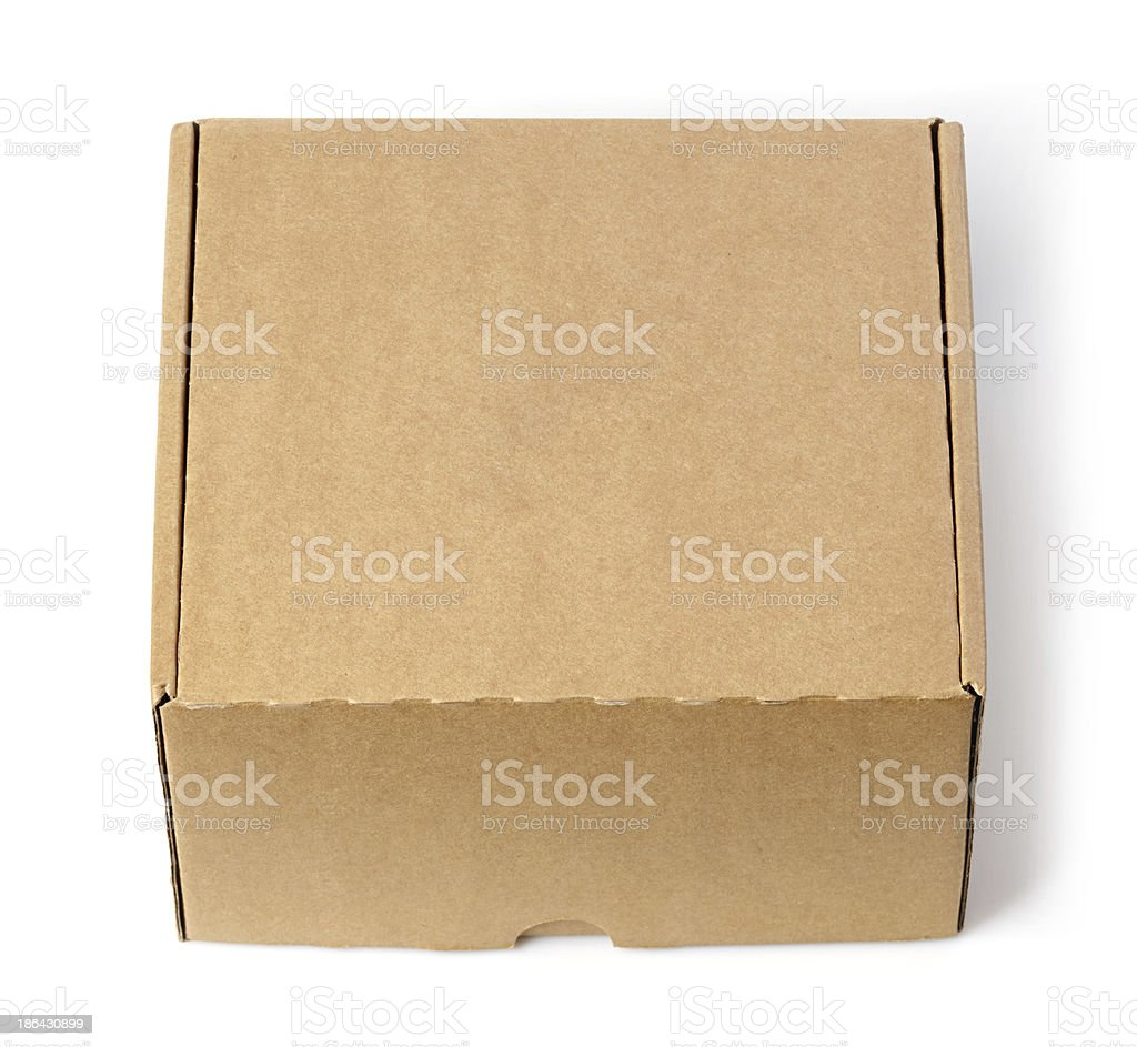 Brown closed cardboard box royalty-free stock photo