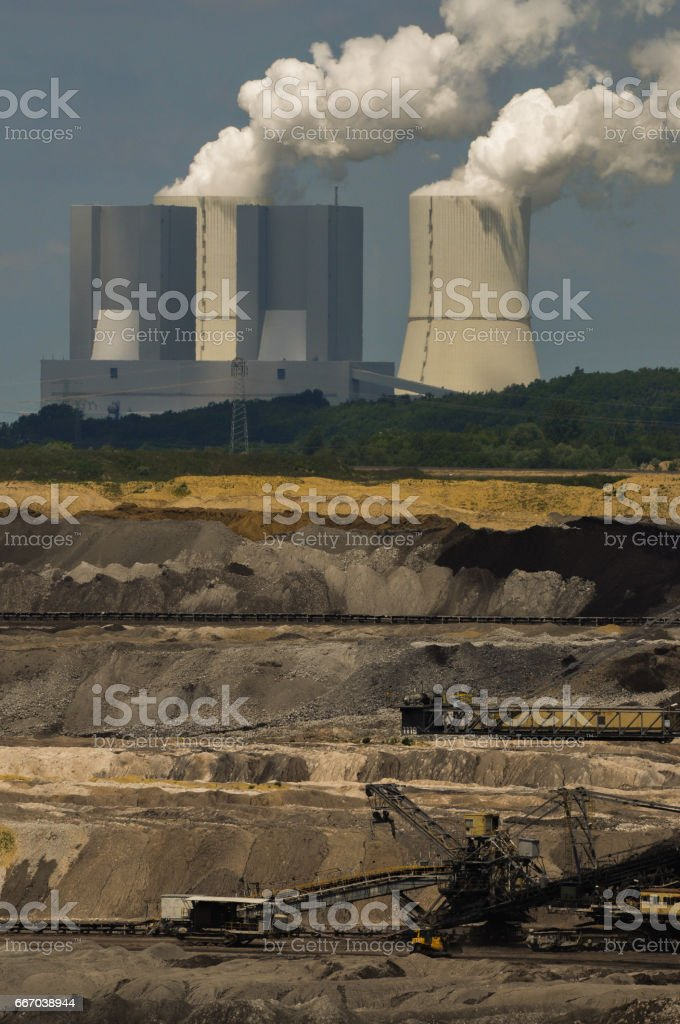 Brown coal mining Schleenhain, Germany stock photo