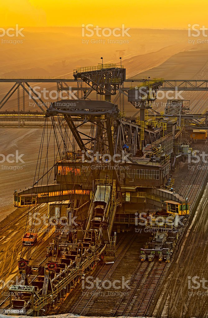 Brown coal opencast mining at dusk stock photo