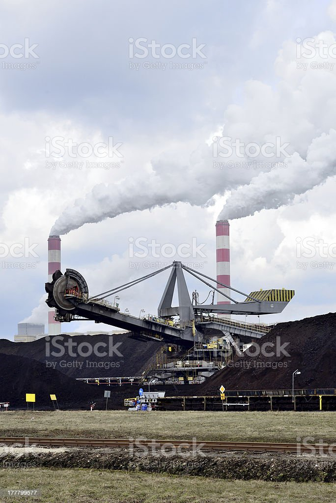 Brown coal power plant stock photo