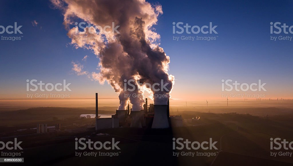 Brown coal power station at dusk - aerial view stock photo