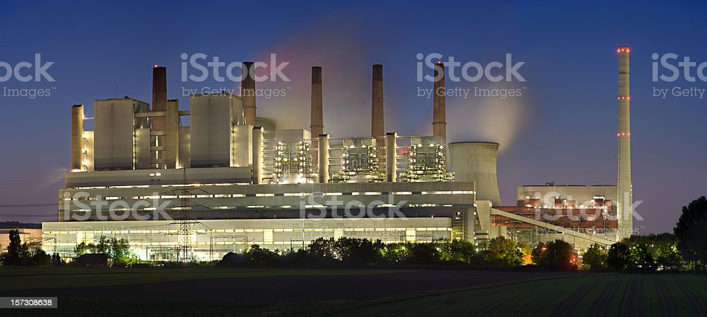 Brown Coal Power Station At Night (XXL) stock photo