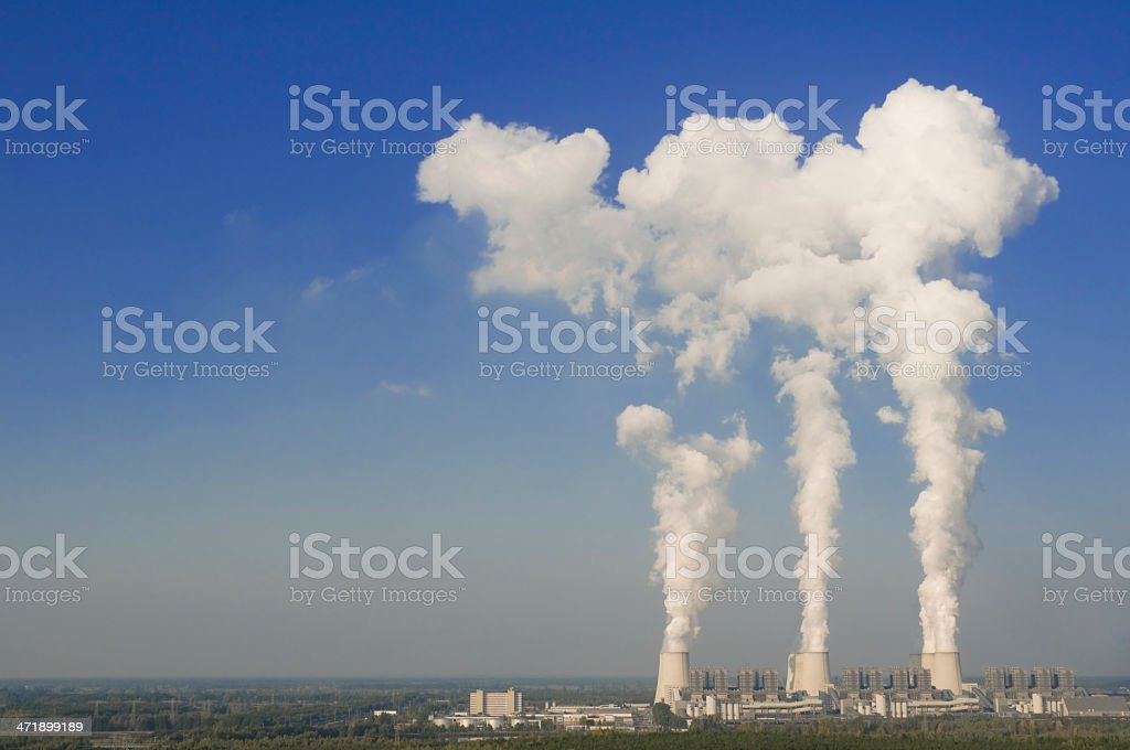 Brown coal power station for power generation stock photo