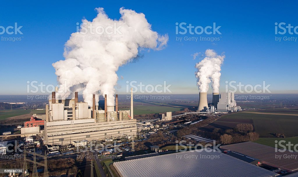Brown coal power stations - panoramic aerial view stock photo