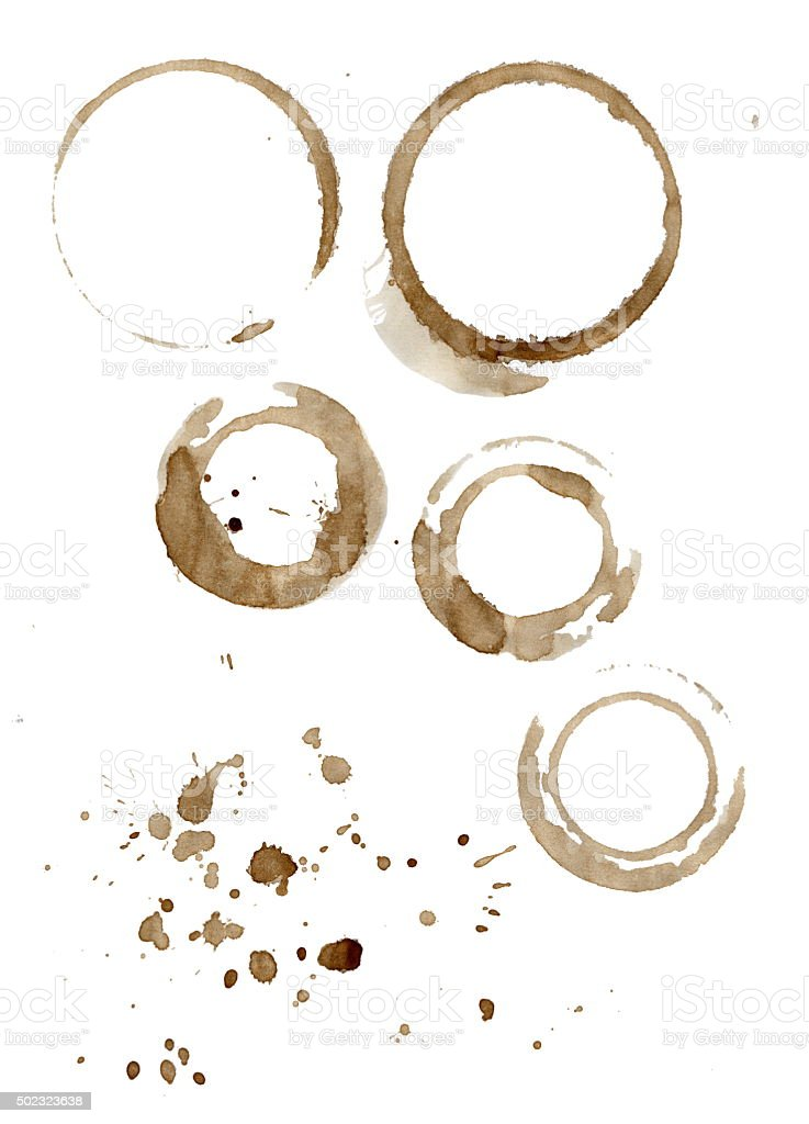 Brown coffee cup stains and splatters isolated on white stock photo