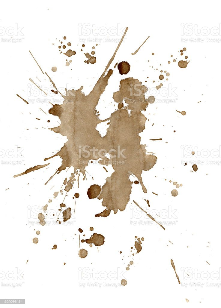 Brown coffee stains and splatters isolated on white stock photo