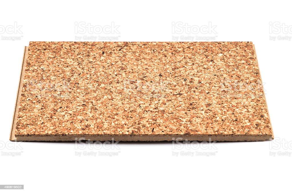 Brown Cork Tile on white Background Tilt Viewpoint stock photo