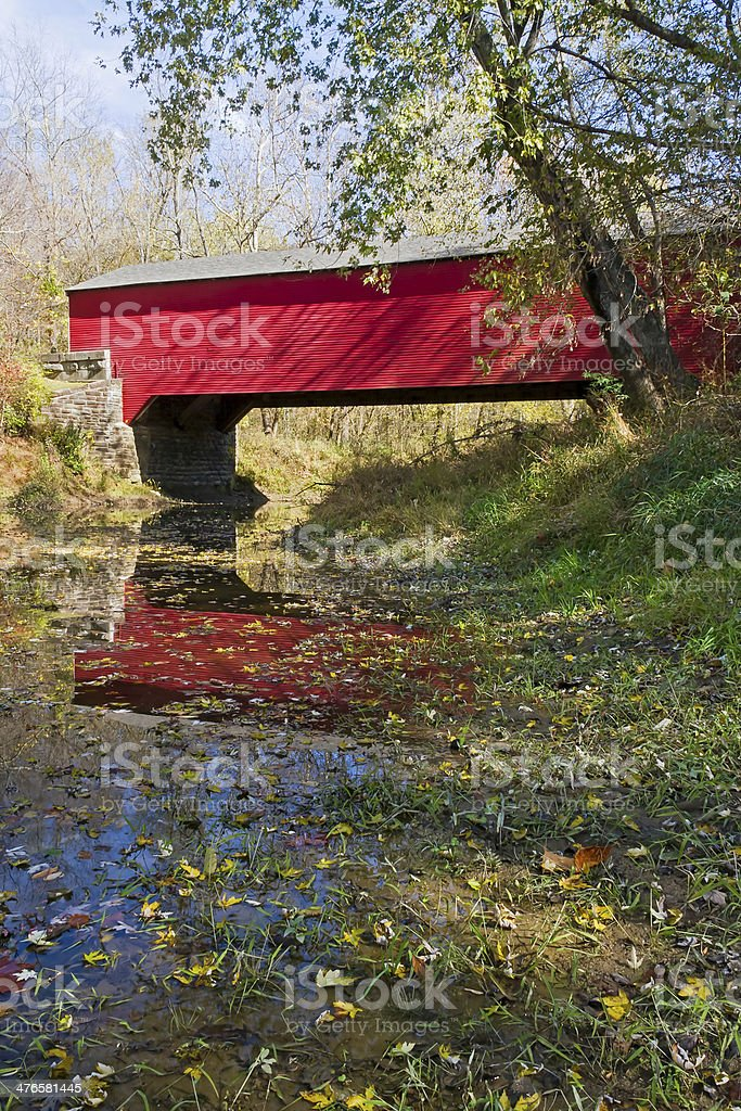 Brown County Covered Bridge in Autumn stock photo