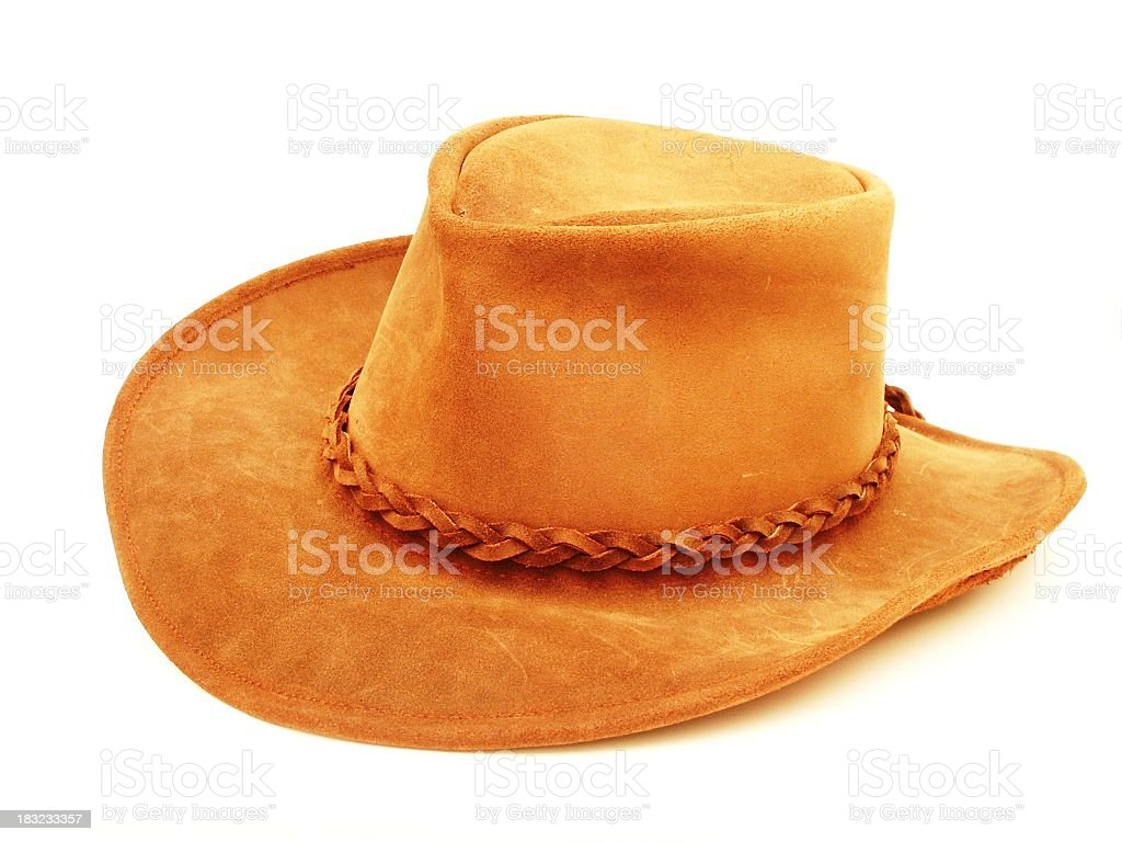 A brown cowboy hat against a plain white background  royalty-free stock photo