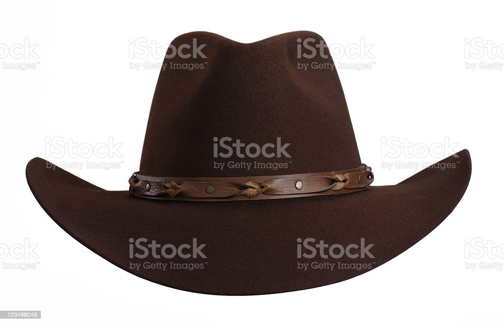 Brown Cowboy Hat Isolated on White royalty-free stock photo