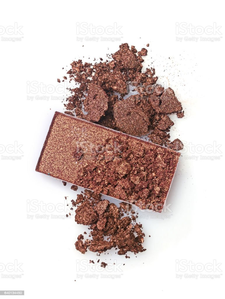 Brown crashed eyeshadow for make up stock photo