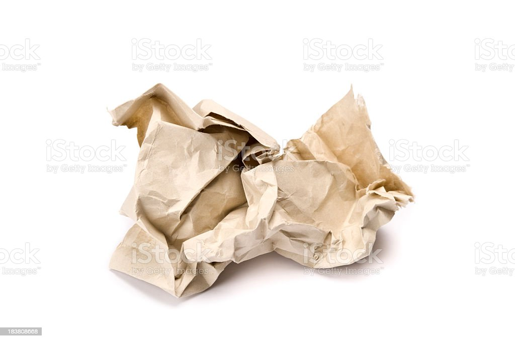 Brown crumpled paper on white background royalty-free stock photo