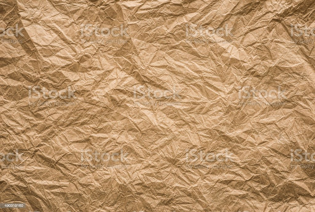 brown crumpled paper stock photo