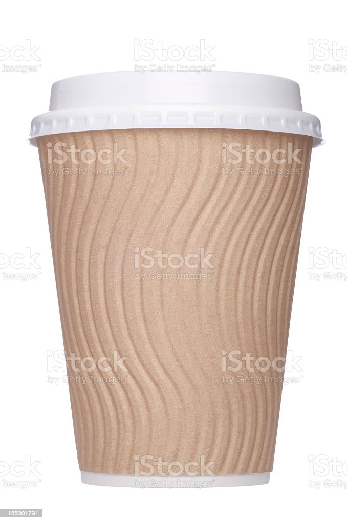 Brown disposable coffee cup royalty-free stock photo